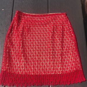 Red Overlay Pencil Skirt